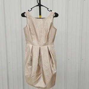 WHBM gold tulip skirt dress BX1660